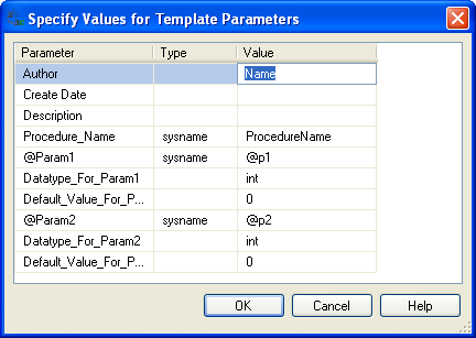 Specify Store Procedure Values for Template Parameters