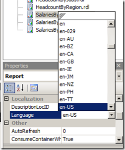 Changing the Language of a SQL Report